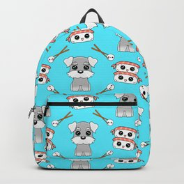Cute cuddly funny baby Schnauzer puppies, happy cheerful sushi with shrimp on top, rice balls and chopsticks pretty light pastel blue pattern design. Backpack