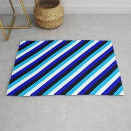 Deep Sky Blue, Mint Cream, Blue & Black Colored Stripes Pattern Rug