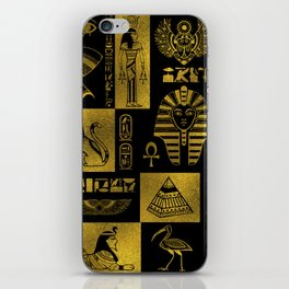 Egyptian  Gold hieroglyphs and symbols collage iPhone Skin