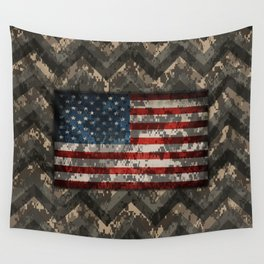 Digital Camo Patriotic Chevrons American Flag Wall Tapestry