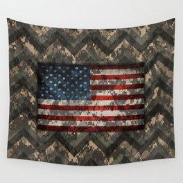 Digital Camo Patriotic Chevrons American Flag Wall Tapestry