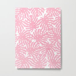 Pink Monstera Leaves Metal Print