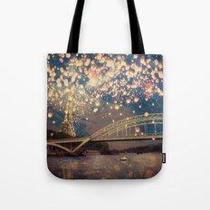 Love Wish Lanterns over Paris Tote Bag