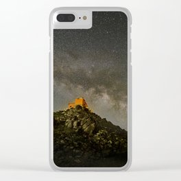 Milky way over the old observatory. Sierra Nevada Clear iPhone Case