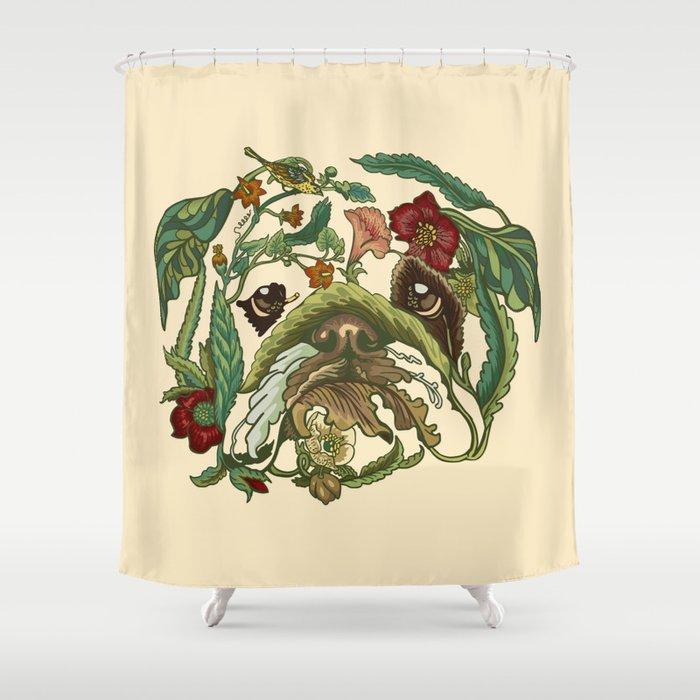 Botanical English Bulldog Shower Curtain