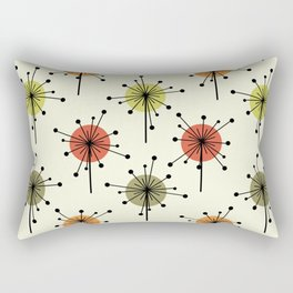 Midcentury Sputnik Starburst Flowers Chartreuse Rectangular Pillow
