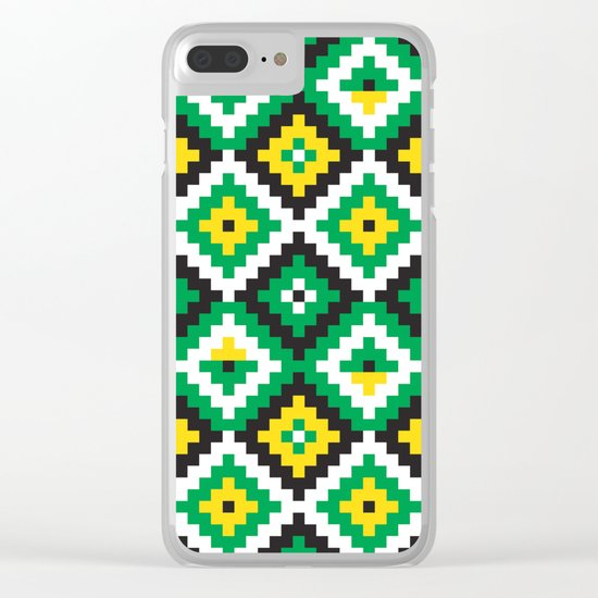 Aztec pattern - green, yellow, black, white Clear iPhone Case