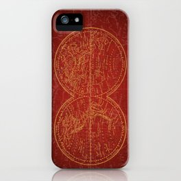Antique Navigation World Map in Red and Gold iPhone Case