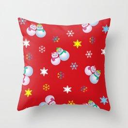 Snowflakes & Pair Snowman_D Throw Pillow