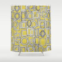 frames Shower Curtains featuring picture frames aplenty yellow by Sharon Turner