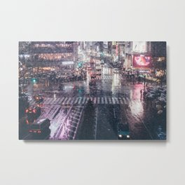 Rainy Night at Shibuyacrossing Metal Print