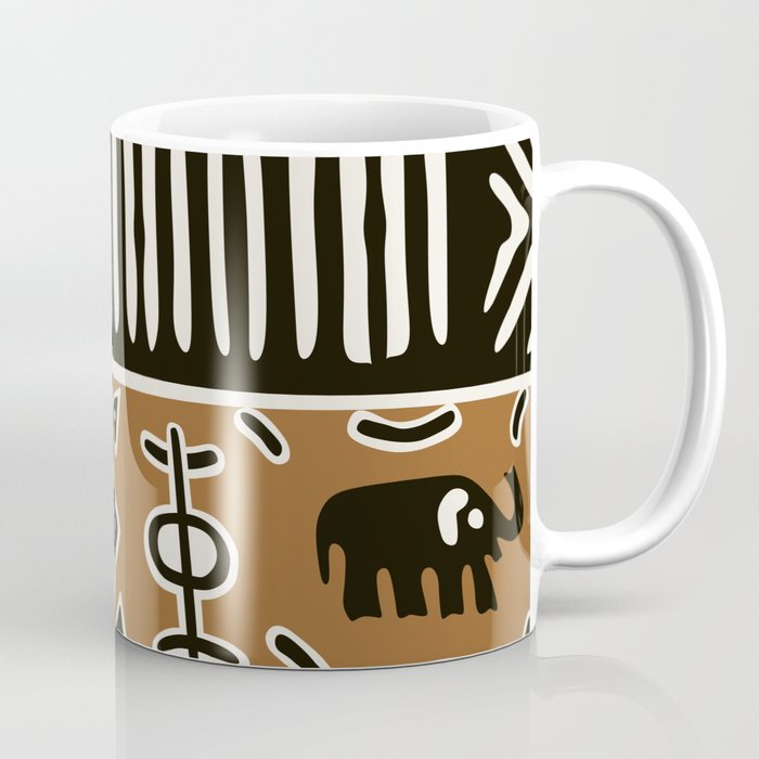 African mud cloth with elephants Coffee Mug