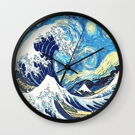 Starry Night Tardis Art Painting On Beach Wall Clock