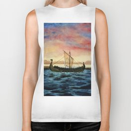 Drakkar, watercolor Biker Tank