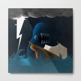 Shipwrecked Monster Monsoon Metal Print