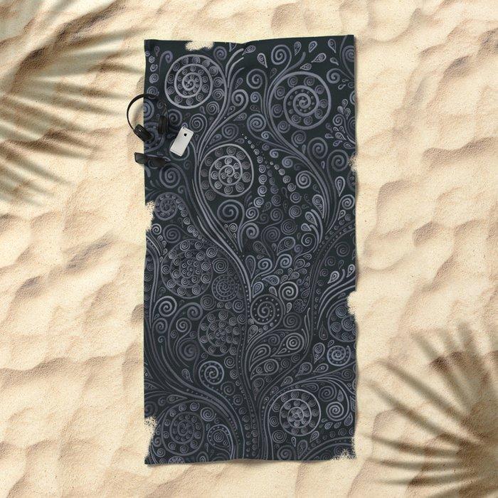 3D ornaments, soft blue Beach Towel