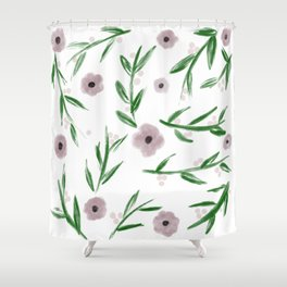Subtle Flowers and Leaves Watercolor Shower Curtain