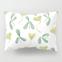 """Watercolor Painting of Picture """"Green Leaves"""" Pillow Sham"""