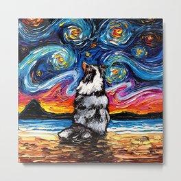 Merle Shetland Sheepdog Night Metal Print