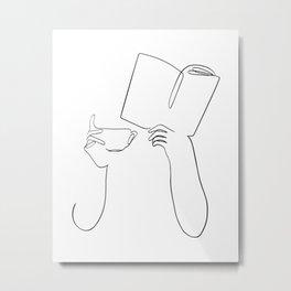 Book & Coffee Metal Print