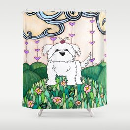 Cameo the Dog on a Hill Shower Curtain
