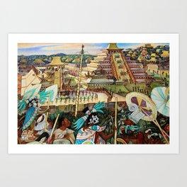 The Totonac Civilization or the Jaguar People in Veracruz, Palacio Nacional Mexico by Diego Rivera Art Print