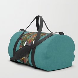 floral elephant teal Duffle Bag