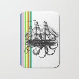 Kraken Attacking ship on Colorful Stripes Bath Mat