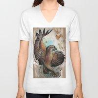 hawk V-neck T-shirts featuring Hawk by ChaniMurat