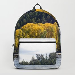 Fall Trees with River and Mountain Backpack