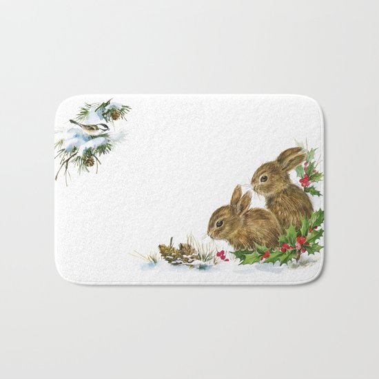 Winter in the forest- Animal Bunny Illustration Bath Mat