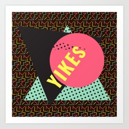 Memphis Throwback Retro 1990s 90s Trendy Hipster Pattern Mint Black Art Print