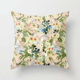 Hibiscus, Orchid, Rosebuds - White Blue Green Throw Pillow
