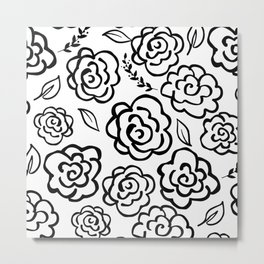 Large Floral Outlines - Black/White Metal Print
