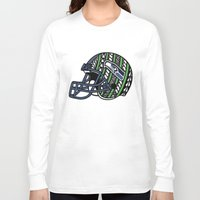 seahawks Long Sleeve T-shirts featuring Polynesian Style Seahawks by Lonica Photography & Poly Designs