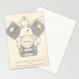 Original technical drawing, Moto Guzzi poster, engine block, classic motorbike cylinder block, garage decoration, cafe racer, scrambler,  Stationery Cards
