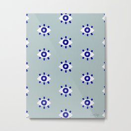 Evil Eye Dots – Mint & Navy Metal Print