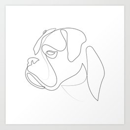 Boxer - one line drawing Art Print
