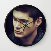 dean winchester Wall Clocks featuring Dean Winchester by Kaye Pyle