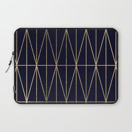 Modern gold geometric triangles pattern navy blue watercolor Laptop Sleeve