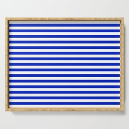 Cobalt Blue and White Thin Horizontal Deck Chair Stripe Serving Tray
