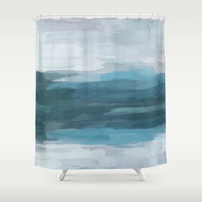 Teal Ocean Blue Gray Abstract Nature Art Painting Shower Curtain