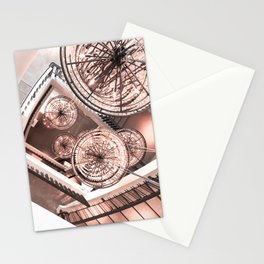 Abstract Perspective // Rose Gold Lighting Ornamental Chandelier Stairway View Stationery Cards