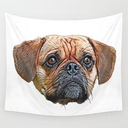 Puggle Beagle Pug designer breeders aim healthy companion Wall Tapestry