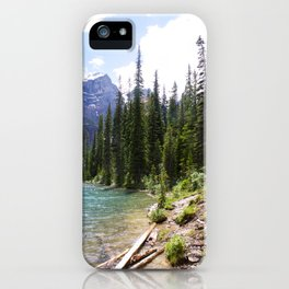 Moraine Lake logs at lake edge iPhone Case
