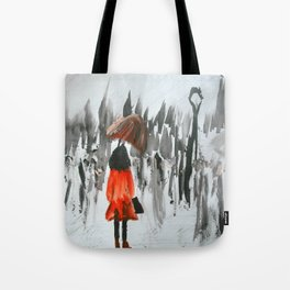 The Girl In The Red Rain Coat (Part 3)  Fine Art Acrylic Painting Tote Bag