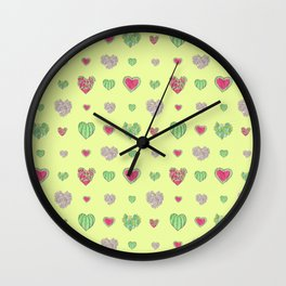 For the love of Watermelon - yellow background Wall Clock