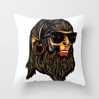 teen wolf Throw Pillows featuring Teen Wolf by Vasco Vicente