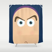toy story Shower Curtains featuring PIXAR CHARACTER POSTER - Buzz Lightyear - Toy Story by Marco Calignano