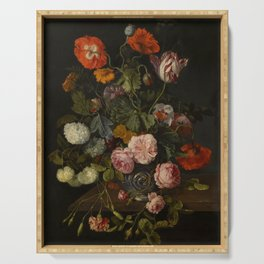 """Cornelis Kick """"A still life with parrot tulips, poppies, roses, snow balls, and other flowers"""" Serving Tray"""